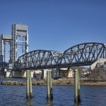 Zoomed in view of steel truss bridge over Thames River in New London CT
