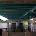 Underneath the Providence River Bridge.  This is spot is frequented by area fishermen.