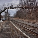 Foot bridge over the tracks in downtown Seymour, CT.