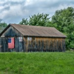 Old barn & US flag, July 4th, Rocky Hill CT