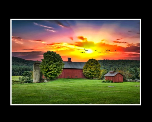 Cornwall CT farm at sunset.